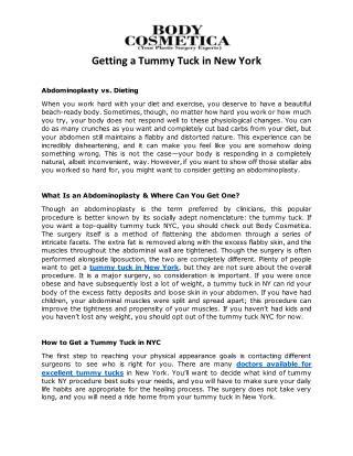 Getting a Tummy Tuck in New York | Body Cosmetica