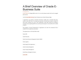 A Brief Overview of Oracle E-Business Suite