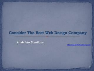Consider The Best Web Design Company