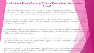 Daniel Peterson Houston Mortgage What You Have to Know About Investing Your Money!