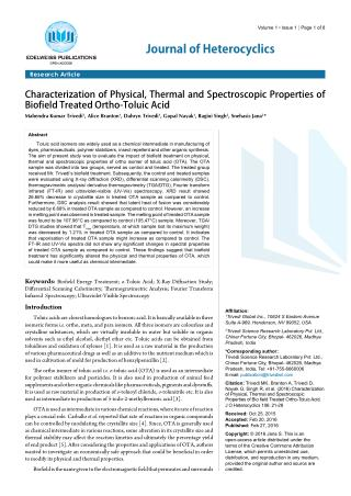 Characterization of Physical, Thermal and Spectroscopic Properties of Biofield Treated Ortho-Toluic Acid