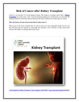 Risk of Cancer after Kidney Transplant