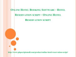 Online Hotel Booking Software - Hotel Reservation script