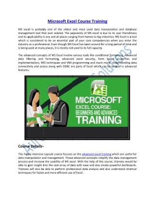 Get Certified on Microsoft Excel Course Online