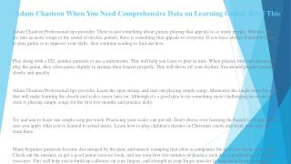 Adam Chasteen When You Need Comprehensive Data on Learning Guitar, Read This