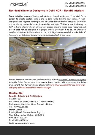 Residential Interior Designers In Delhi NCR – Resaiki Interiors