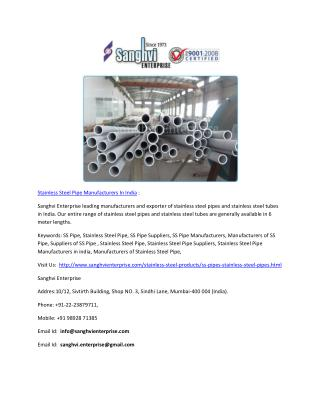 Stainless Steel Pipe Manufacturers In India