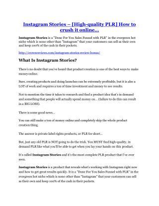 Instagram Stories Review & (BIGGEST) jaw-drop bonuses