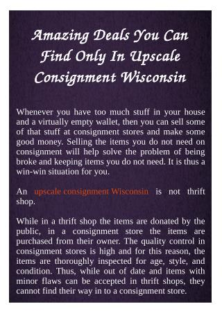 Upscale Consignment Wisconsin