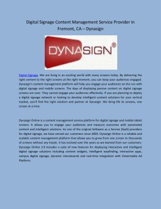 Digital Signage Content Management Service Provider in Fremont, CA – Dynasign