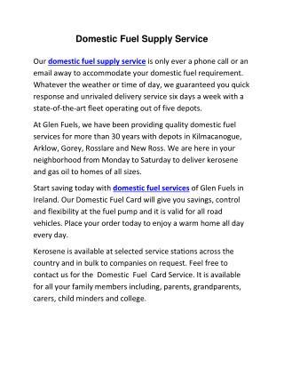 Domestic Fuel Supply Service