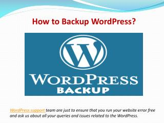 WordPress Technical Support for Backup