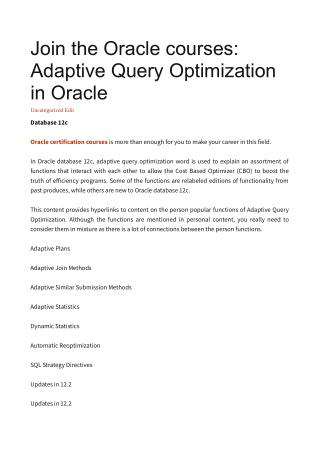 Join the Oracle courses: Adaptive Query Optimization in Oracle