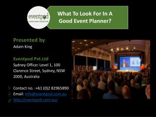 What To Look For In A Good Event Planner