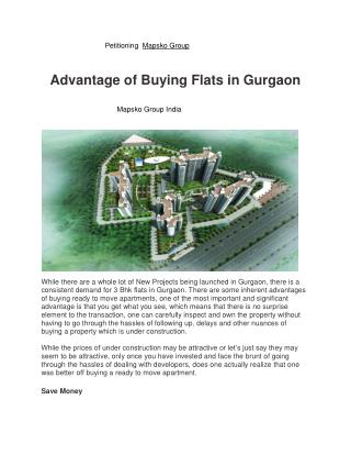 Advantage of buying flats in Gurgaon