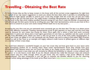 Travelling - Obtaining the Best Rate