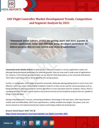 UAV Flight Controller Market Development Trends, Competition and Segment Analysis by 2021