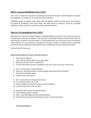 How to Fix or Resolve Quickbooks Errors 15215