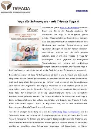 Yoga für Schwangere - mit Tripada Yoga ®