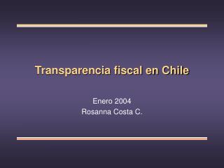 Transparencia fiscal en Chile