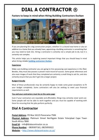 Factors to keep in mind when Hiring Building Contractors Durban