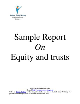 Sample Report on Equity and Trusts By Instant Essay Writing