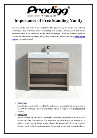 Importance of Free Standing Vanity