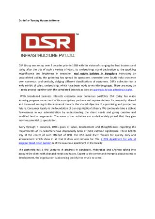 Dsr homes -Turning Houses to Homes