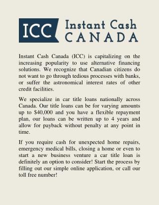 Obtain car title loans in Ontario