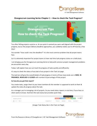 Orangescrum Learning Series Chapter 1 – How to check the Task Progress