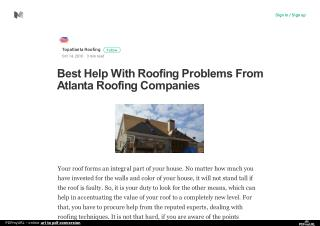 Best Help With Roofing Problems From Atlanta Roofing Companies