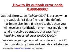 How to fix outlook error code 0x8004060C