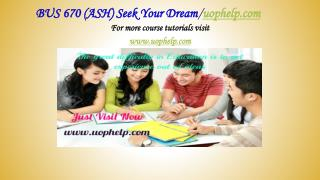 BUS 670 (ASH) Seek Your Dream /uophelp.com