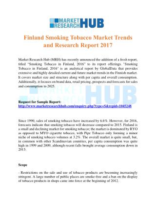 Finland Smoking Tobacco Market Trends and Research Report 2017