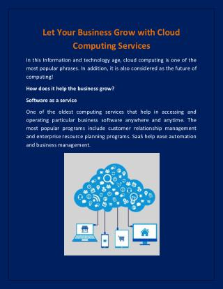 Let Your Business Grow with Cloud Computing Services