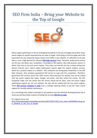 SEO Firm India – Bring your Website to the Top of Google