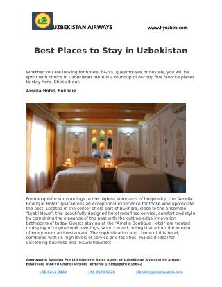 Best Places to Stay in Uzbekistan