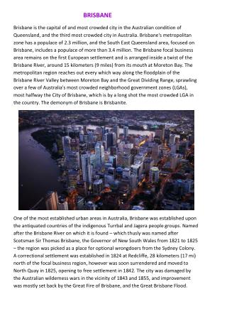 Brisbane's History, Climate, Economy, Education, Sport and  media