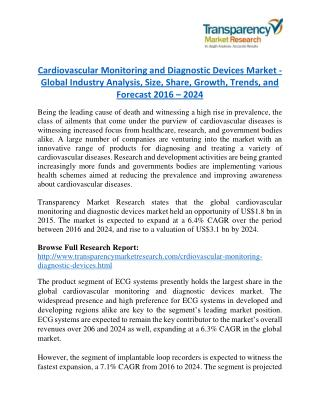 Cardiovascular Monitoring and Diagnostic Devices Market Research Report Forecast to 2024