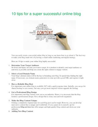 10 tips for a super successful online blog