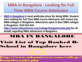 MBA in Bangalore - Looking for Full Time MBA Course Admission