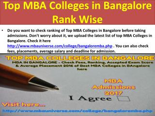 Top MBA Colleges in Bangalore Rank Wise