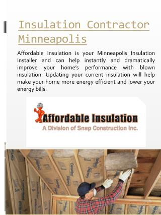 Insulation Installer Minneapolis