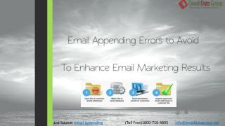 Email Appending Errors To Be Prevented