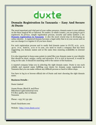 Domain Registration In Tanzania – Easy And Secure At Duxte