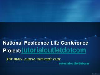 National Residence Life Conference Project/tutorialoutletdotcom