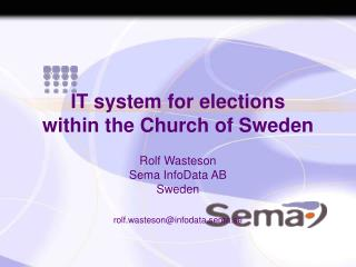 IT system for elections  within the Church of Sweden