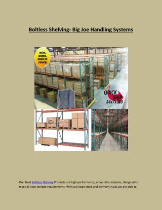 Boltless Shelving- Big Joe Handling Systems