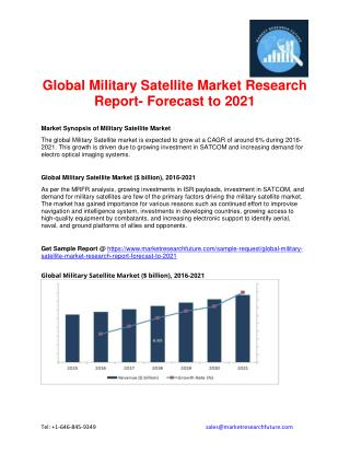 Global Military Satellite Market Research Report- Forecast to 2021
