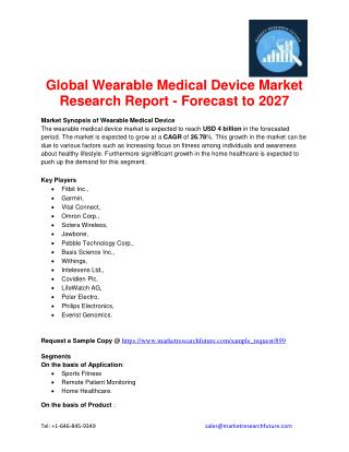 Global Wearable Medical Device Market Research Report - Forecast to 2027